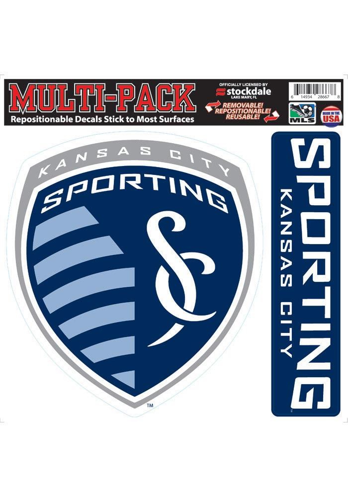 Sporting Kansas City 12x12 2 Pack Crest Auto Decal - Navy Blue - Image 1