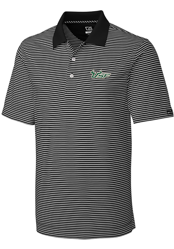 Cutter and Buck South Florida Bulls Mens Black Trevor Stripe Short Sleeve Polo - Image 1