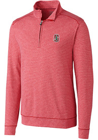 Stanford Cardinal Cutter and Buck Shoreline 1/4 Zip Pullover - Navy Blue