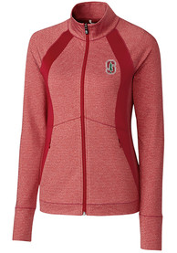 Stanford Cardinal Womens Cutter and Buck Shoreline 1/4 Zip Pullover - Red