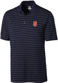 Syracuse Orange Cutter and Buck Franklin Stripe Polo Shirt - Navy Blue