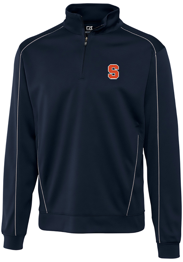 Cutter and Buck Syracuse Orange Mens Navy Blue Edge Long Sleeve 1/4 Zip Pullover - Image 1