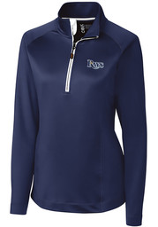 Tampa Bay Rays Womens Cutter and Buck Jackson 1/4 Zip Pullover - Navy Blue
