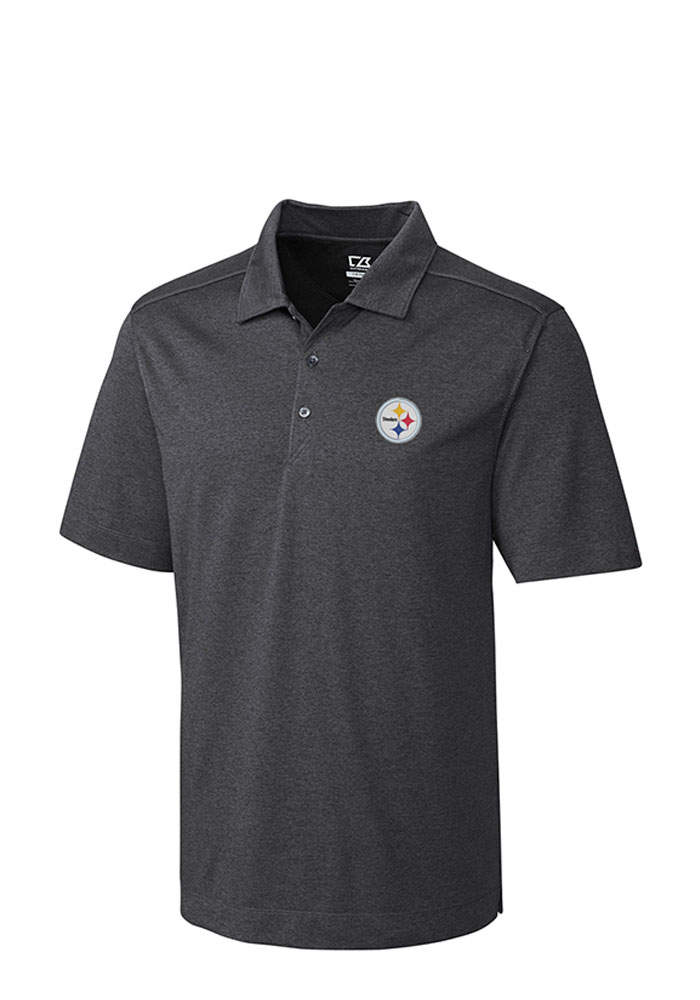 Cutter and Buck Pittsburgh Steelers Mens Grey Chelan Short Sleeve Polo - Image 1