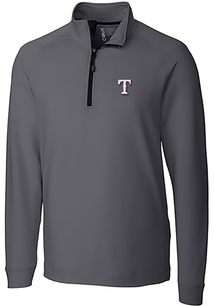 Cutter and Buck Texas Rangers Mens Grey Jackson Long Sleeve 1/4 Zip Pullover - Image 1
