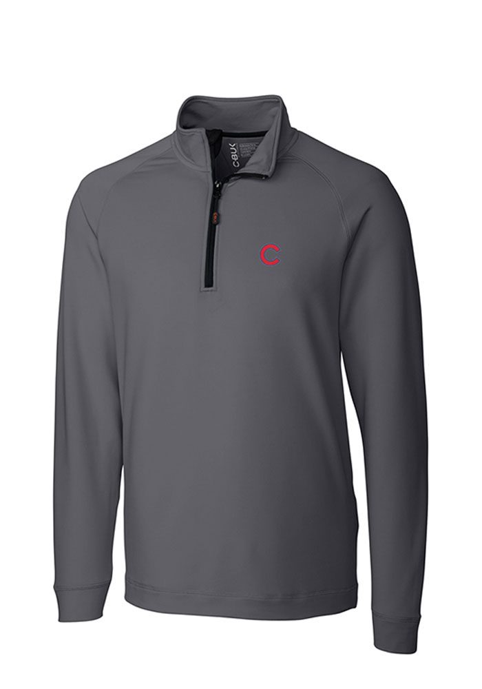 Cutter and Buck Chicago Cubs Mens Grey Jackson Long Sleeve 1/4 Zip Pullover - Image 1