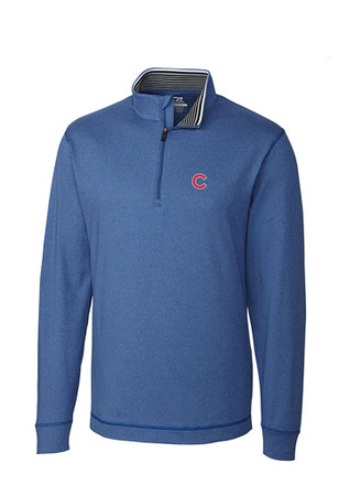 Cutter and Buck Chicago Cubs Mens Blue Topsipn 1/4 Zip Pullover