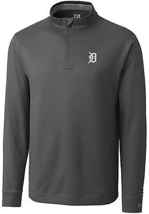 Cutter and Buck Detroit Tigers Mens Grey Topsipn 1/4 Zip Pullover
