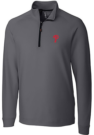 Cutter and Buck Phillies Mens Grey Jackson 1/4 Zip Pullover