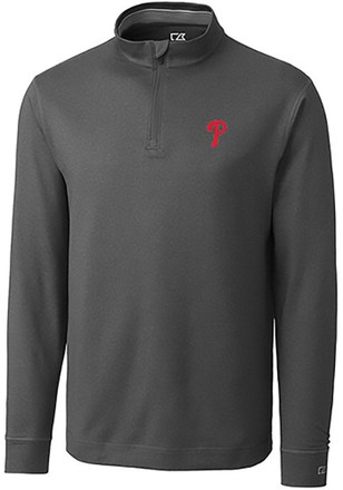 Cutter and Buck Philadelphia Phillies Mens Grey Topspin 1/4 Zip Pullover