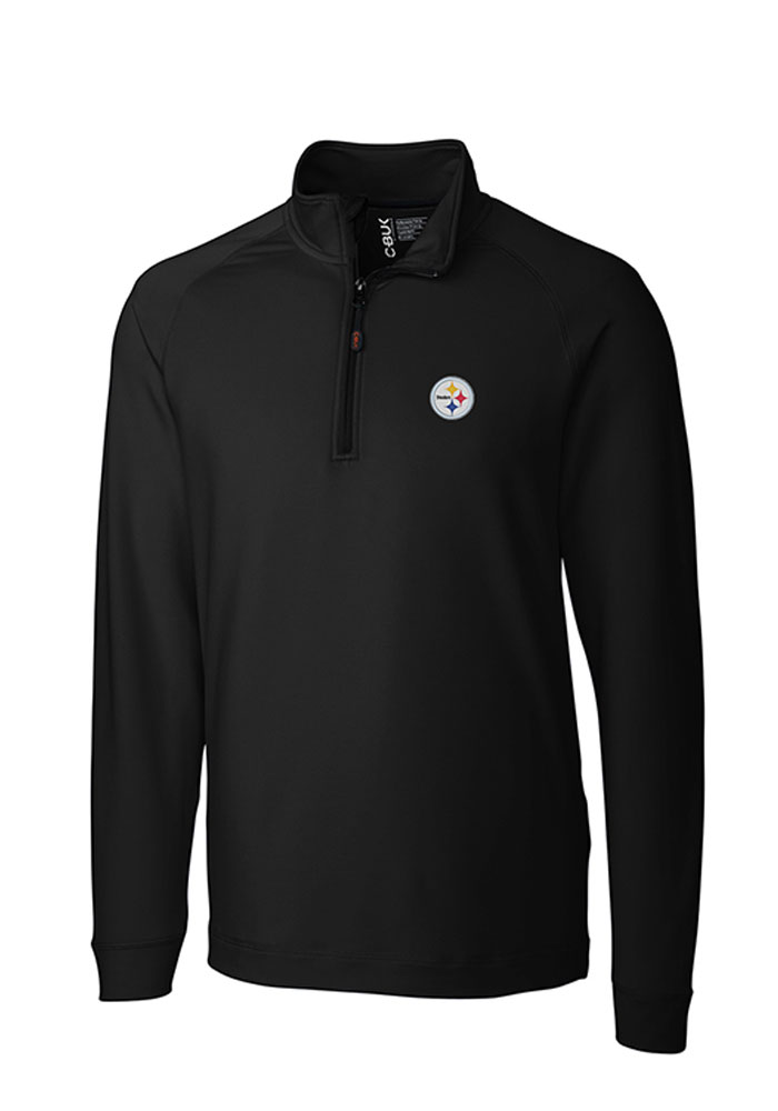 Cutter and Buck Pittsburgh Steelers Mens Black Jackson Long Sleeve 1/4 Zip Pullover, Black, 95% POLYESTER / 5% SPANDEX, Size XL