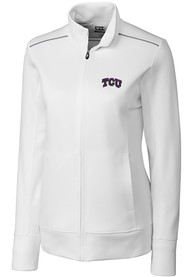 TCU Horned Frogs Womens Cutter and Buck Ridge Full Zip Jacket - White