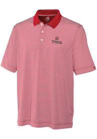 Temple Owls Cutter and Buck Trevor Stripe Polo Shirt - Red