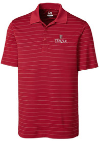 Temple Owls Cutter and Buck Franklin Stripe Polo Shirt - Red