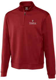 Temple Owls Cutter and Buck Edge 1/4 Zip Pullover - Cardinal