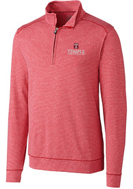 Temple Owls Cutter and Buck Shoreline 1/4 Zip Pullover - Red