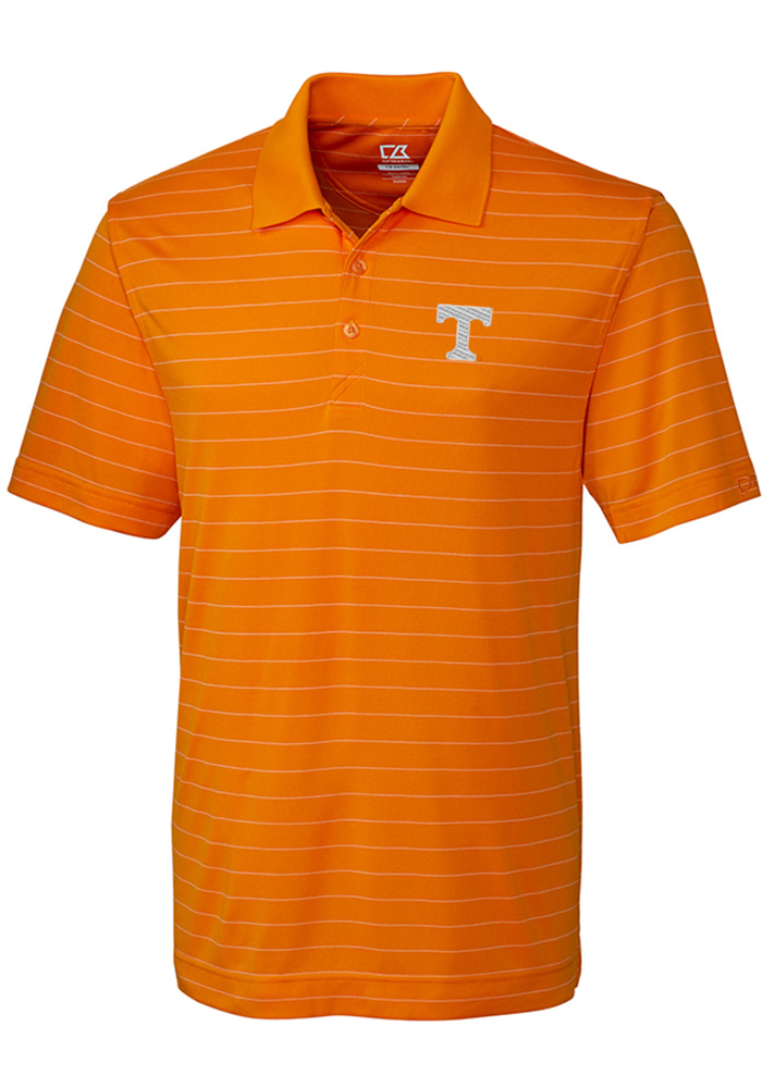 Cutter and Buck Tennessee Volunteers Mens Orange Franklin Stripe Short Sleeve Polo - Image 1