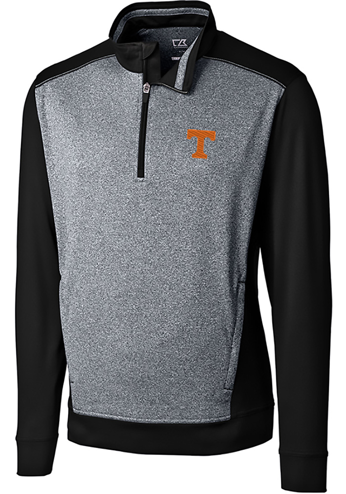 Cutter and Buck Tennessee Volunteers Mens Black Replay Long Sleeve 1/4 Zip Pullover - Image 1