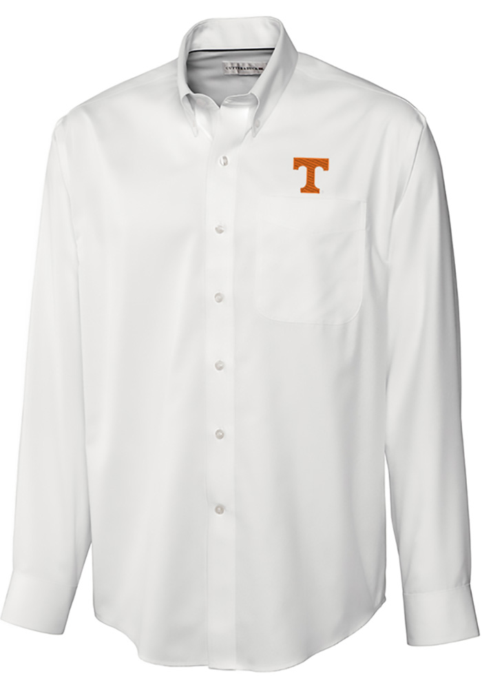 Cutter and Buck Tennessee Volunteers Mens White Epic Long Sleeve Dress Shirt - Image 1