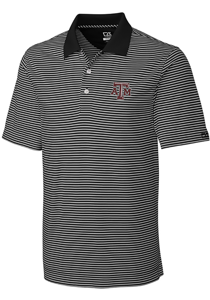 Cutter and Buck Texas A&M Aggies Mens Black Trevor Stripe Short Sleeve Polo - Image 1