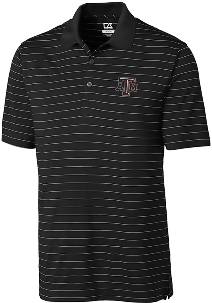 Cutter and Buck Texas A&M Aggies Mens Black Franklin Stripe Short Sleeve Polo - Image 1