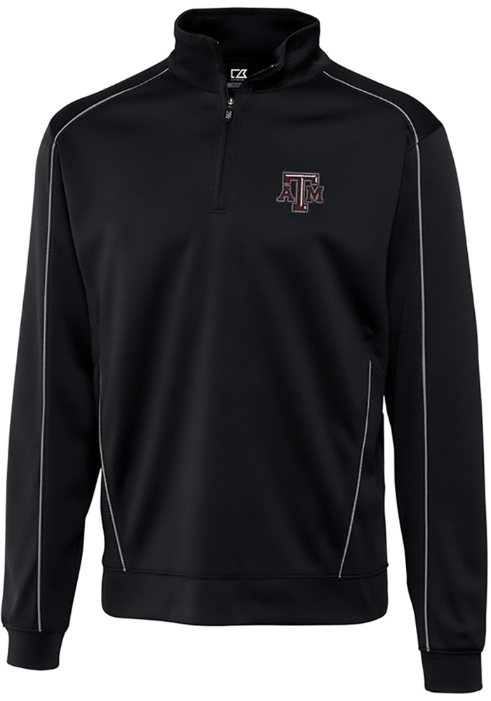 Cutter and Buck Texas A&M Aggies Mens Black Edge Long Sleeve 1/4 Zip Pullover - Image 1