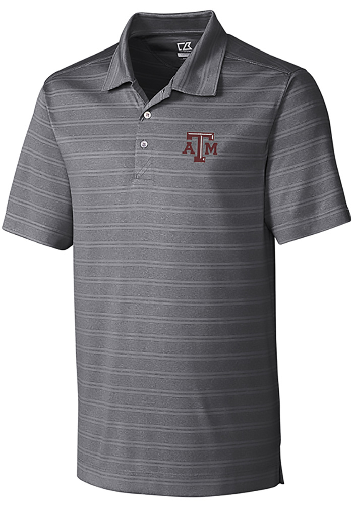 Cutter and Buck Texas A&M Aggies Mens Grey Interbay Melange Short Sleeve Polo - Image 1