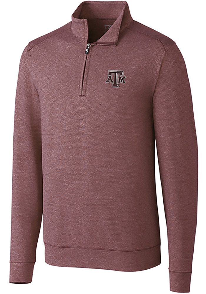 Cutter and Buck Texas A&M Aggies Mens Burgundy Shoreline Long Sleeve 1/4 Zip Pullover - Image 1