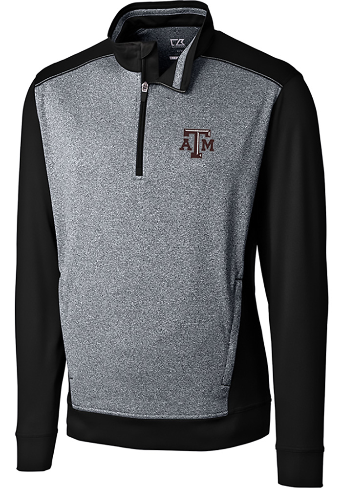 Cutter and Buck Texas A&M Aggies Mens Black Replay Long Sleeve 1/4 Zip Pullover - Image 1