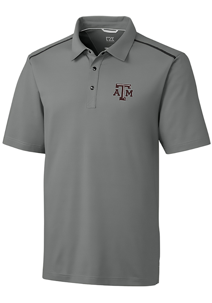 Cutter and Buck Texas A&M Aggies Mens Grey Fusion Short Sleeve Polo - Image 1