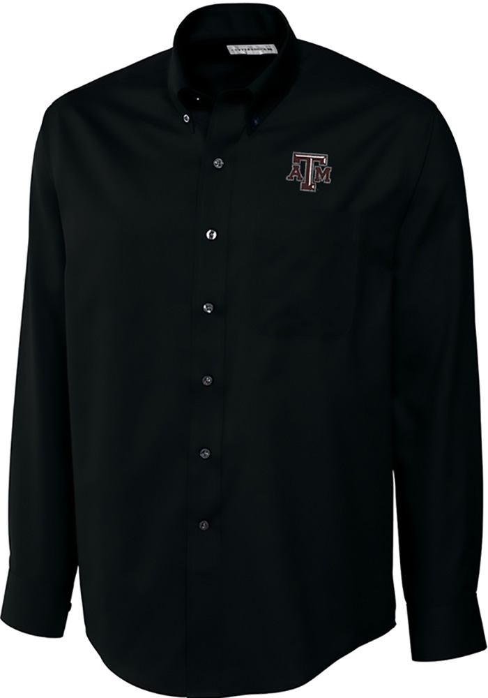 Cutter and Buck Texas A&M Aggies Mens Black Epic Long Sleeve Dress Shirt - Image 1
