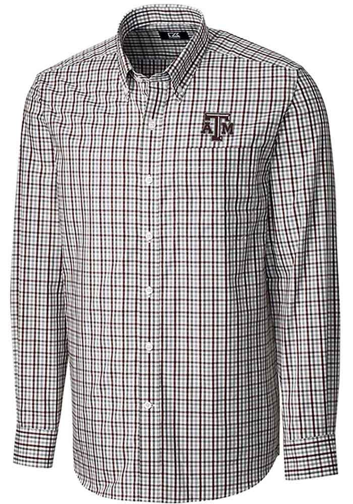 Cutter and Buck Texas A&M Aggies Mens Maroon Gilman Long Sleeve Dress Shirt - Image 1