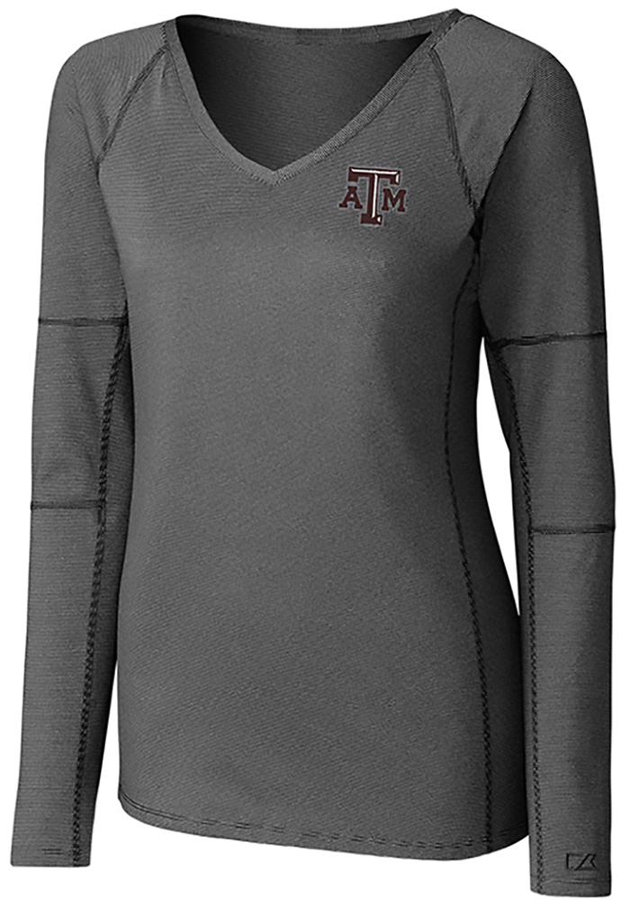 Cutter and Buck Texas A&M Aggies Womens Black Victory LS Tee - Image 1