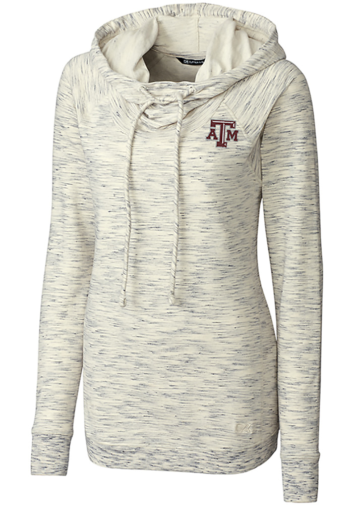 Cutter and Buck Texas A&M Aggies Womens White Tie Breaker Hooded Sweatshirt - Image 1