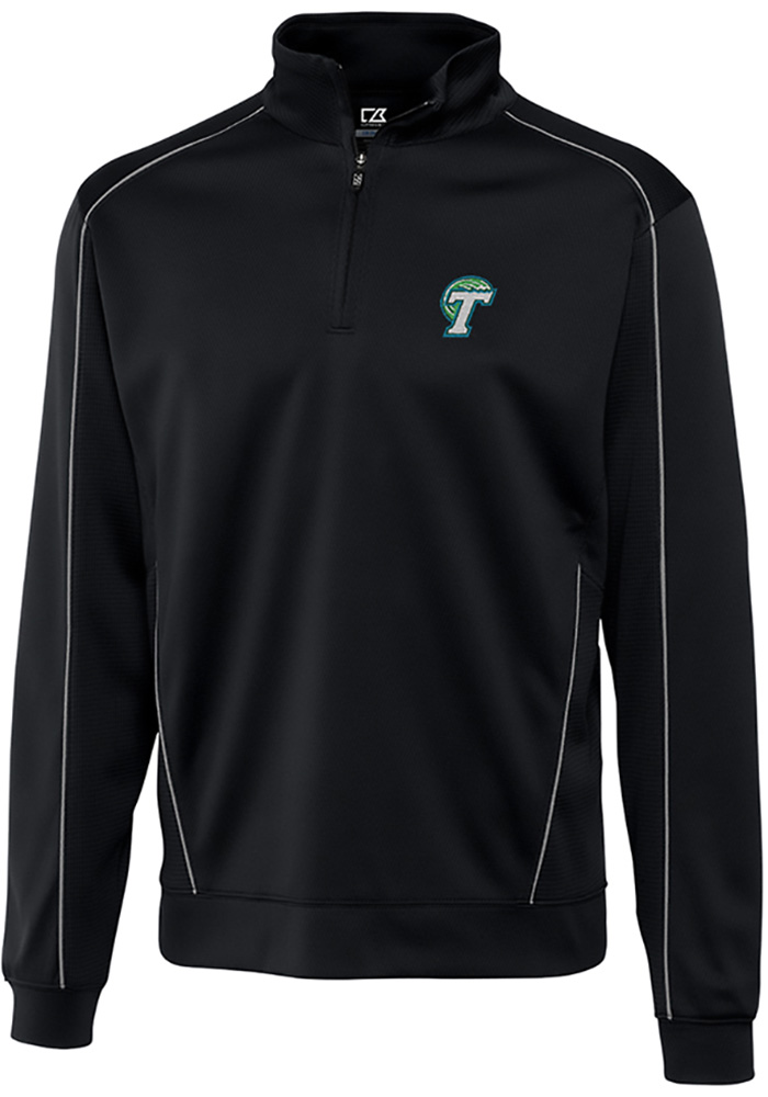 Tulane Green Wave Mens Black Edge Long Sleeve 1/4 Zip Pullover - Image 1