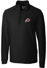 Utah Utes Cutter and Buck Jackson 1/4 Zip Pullover - Black