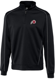 Utah Utes Cutter and Buck Edge 1/4 Zip Pullover - Black
