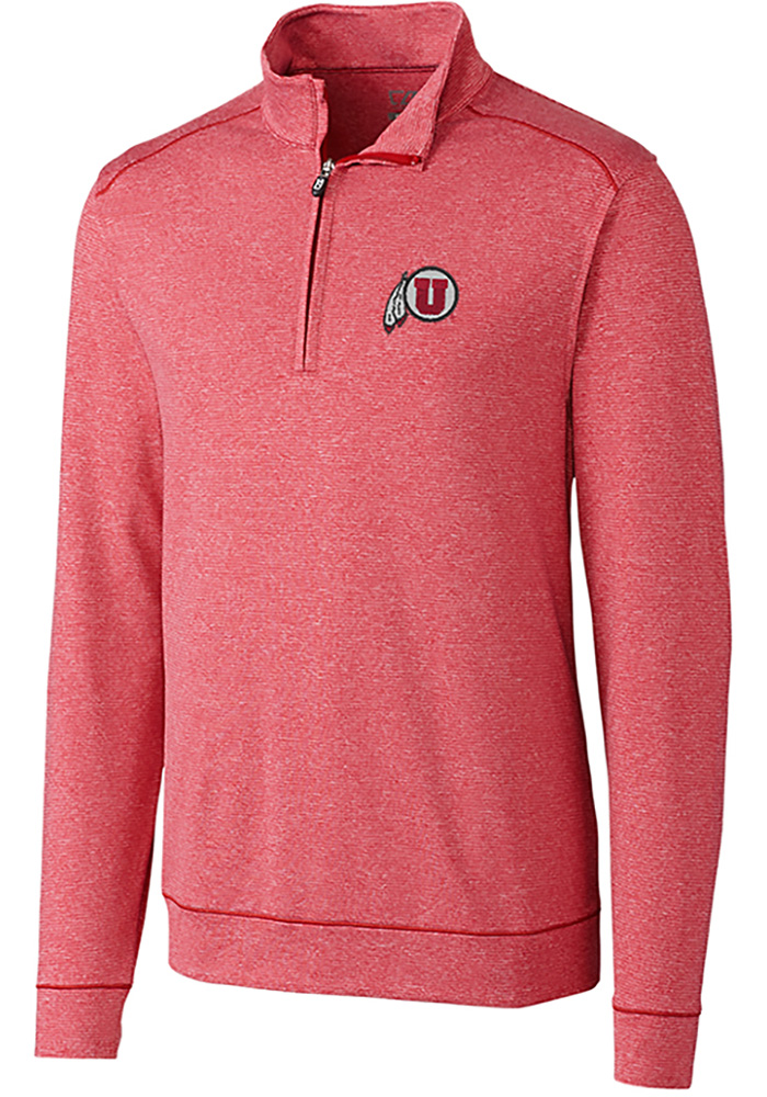 Cutter and Buck Utah Utes Mens Red Shoreline Long Sleeve 1/4 Zip Pullover - Image 1