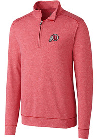 Utah Utes Cutter and Buck Shoreline 1/4 Zip Pullover - Red