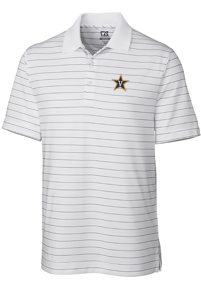 Cutter and Buck Vanderbilt Commodores Mens White Franklin Stripe Short Sleeve Polo - Image 1