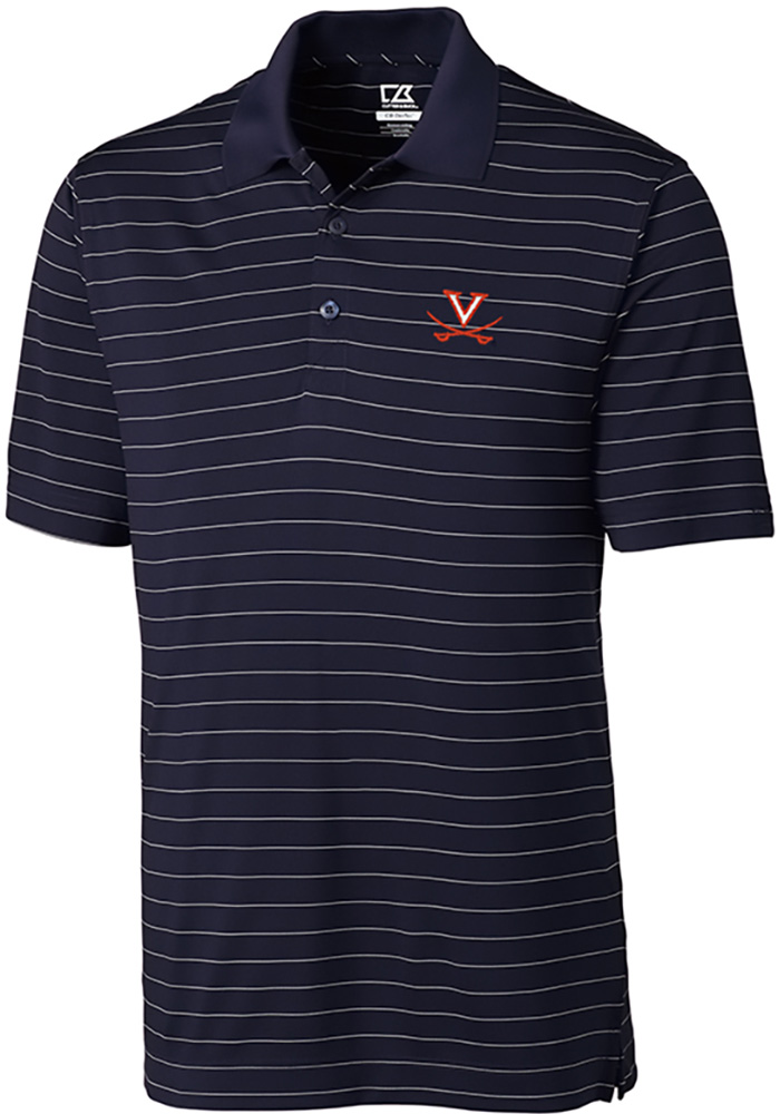 Cutter and Buck Virginia Cavaliers Mens Navy Blue Franklin Stripe Short Sleeve Polo - Image 1