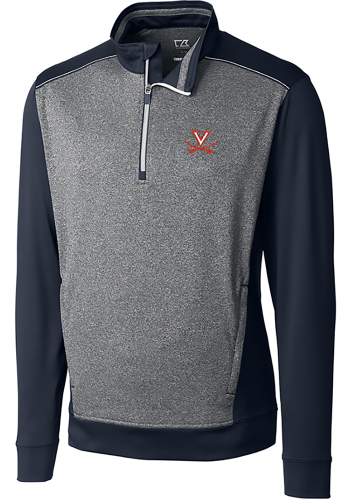 Cutter and Buck Virginia Cavaliers Mens Navy Blue Replay Long Sleeve 1/4 Zip Pullover - Image 1