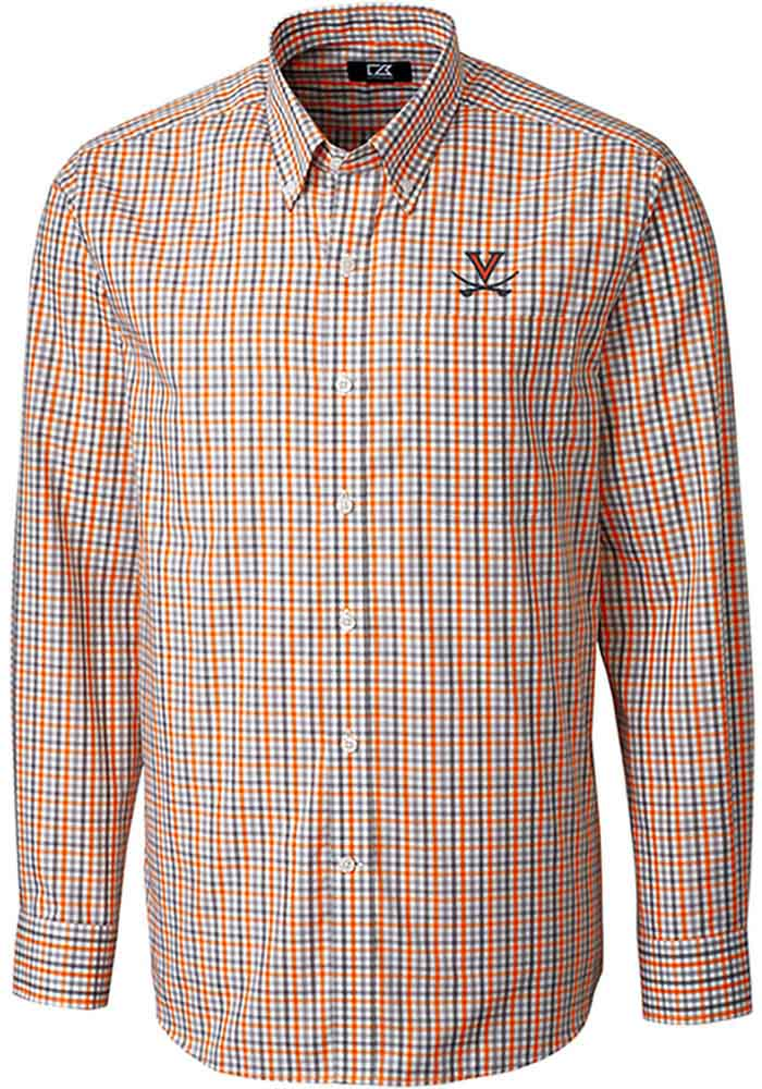 Cutter and Buck Virginia Cavaliers Mens Orange Gilman Long Sleeve Dress Shirt - Image 1