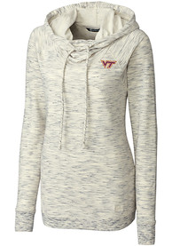 Virginia Tech Hokies Womens Cutter and Buck Tie Breaker Hooded Sweatshirt - White