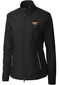 Virginia Tech Hokies Womens Cutter and Buck Beacon Light Weight Jacket - Black