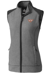 Virginia Tech Hokies Womens Cutter and Buck Cedar Park Vest - Grey