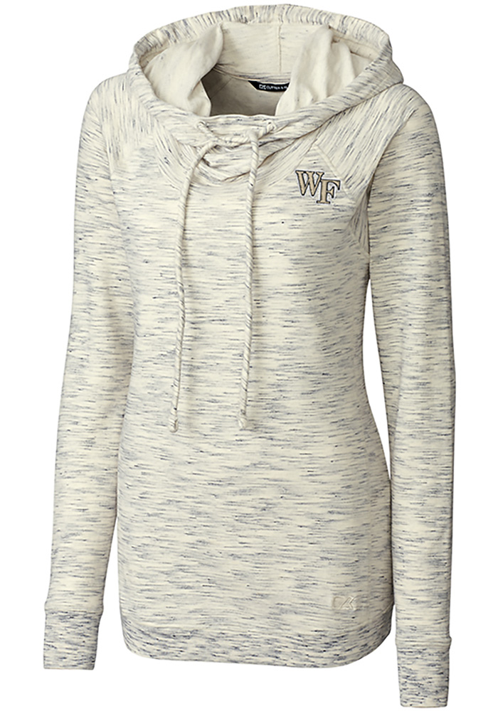 Cutter and Buck Wake Forest Demon Deacons Womens White Tie Breaker Hooded Sweatshirt - Image 1