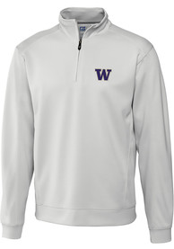 Washington Huskies Cutter and Buck Edge 1/4 Zip Pullover - White