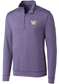 Washington Huskies Cutter and Buck Shoreline 1/4 Zip Pullover - Purple