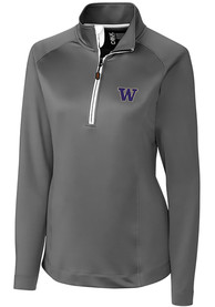 Washington Huskies Womens Cutter and Buck Jackson 1/4 Zip Pullover - Grey